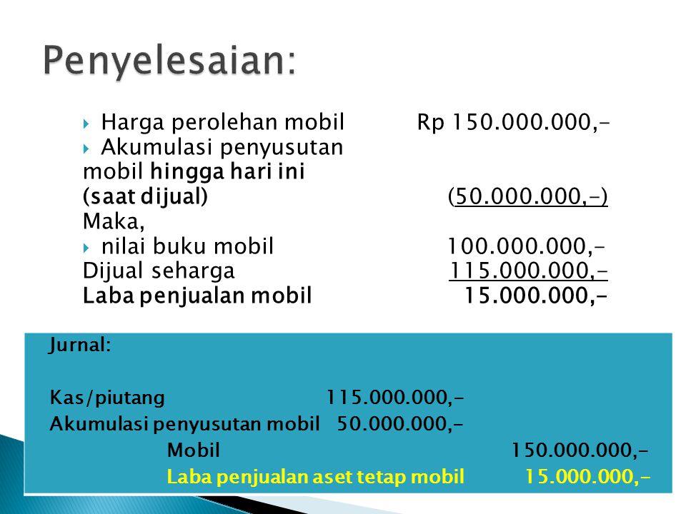  Harga perolehan mobil Rp 150.000.000,-  Akumulasi penyusutan mobil hingga hari ini (saat dijual) (50.000.000,-) Maka,  nilai buku mobil 100.000.00