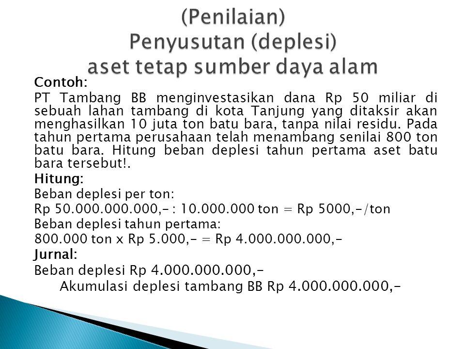 Contoh: PT Tambang BB menginvestasikan dana Rp 50 miliar di sebuah lahan tambang di kota Tanjung yang ditaksir akan menghasilkan 10 juta ton batu bara