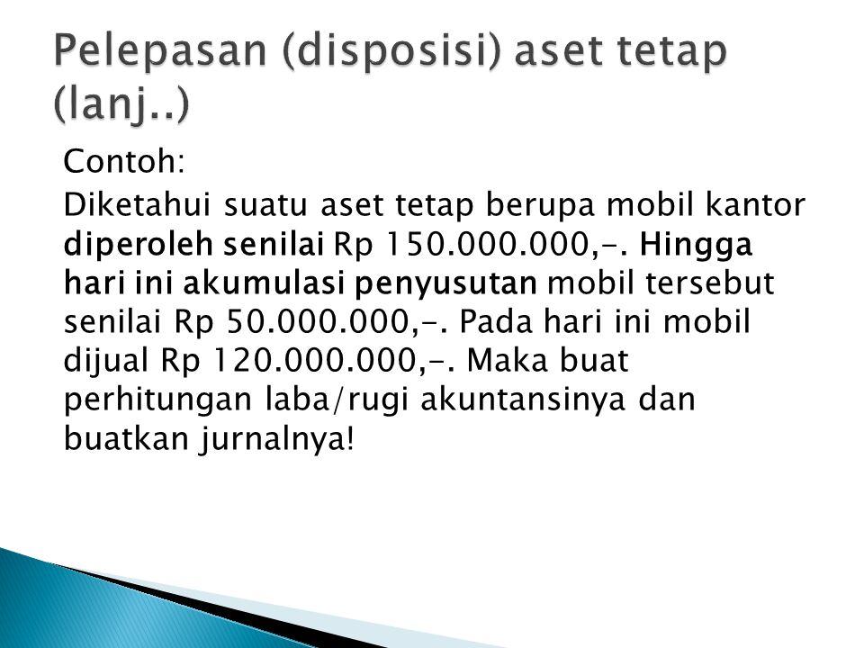 Contoh: Diketahui suatu aset tetap berupa mobil kantor diperoleh senilai Rp 150.000.000,-. Hingga hari ini akumulasi penyusutan mobil tersebut senilai