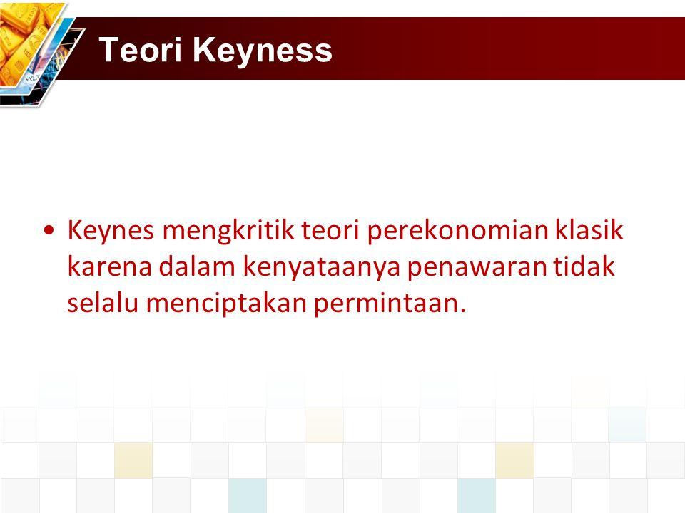 Teori Keyness Keynes mengkritik teori perekonomian klasik karena dalam kenyataanya penawaran tidak selalu menciptakan permintaan.