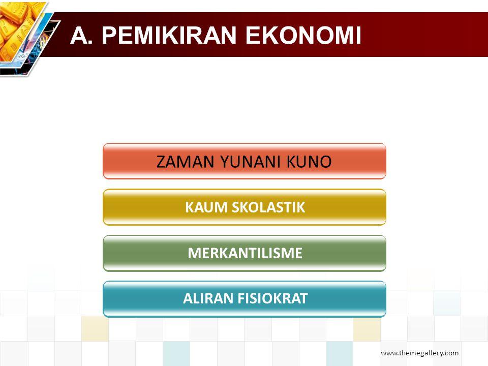 www.themegallery.com A. PEMIKIRAN EKONOMI ZAMAN YUNANI KUNO KAUM SKOLASTIK MERKANTILISME ALIRAN FISIOKRAT