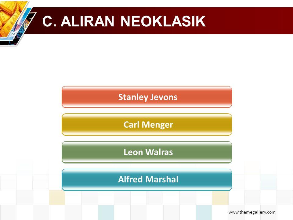 www.themegallery.com C. ALIRAN NEOKLASIK Stanley Jevons Carl Menger Leon Walras Alfred Marshal