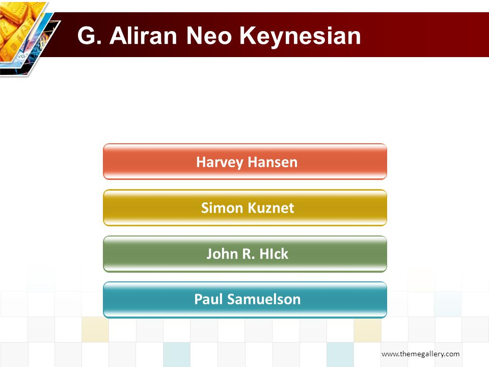 www.themegallery.com G. Aliran Neo Keynesian Harvey Hansen Simon Kuznet John R. HIck Paul Samuelson