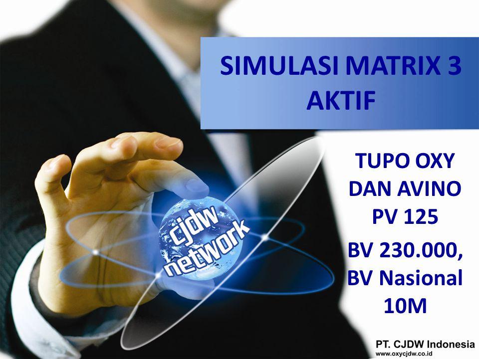 SIMULASI MATRIX 3 AKTIF TUPO OXY DAN AVINO PV 125 BV 230.000, BV Nasional 10M