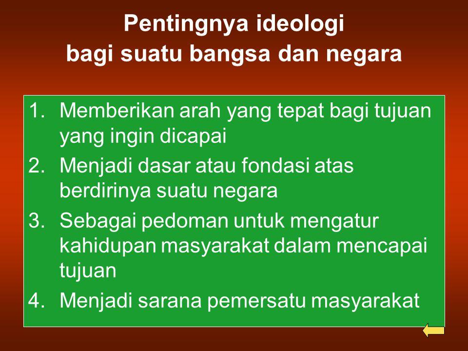 Pentingnya ideologi bagi suatu bangsa dan negara 1.Memberikan arah yang tepat bagi tujuan yang ingin dicapai 2.Menjadi dasar atau fondasi atas berdirinya suatu negara 3.Sebagai pedoman untuk mengatur kahidupan masyarakat dalam mencapai tujuan 4.Menjadi sarana pemersatu masyarakat