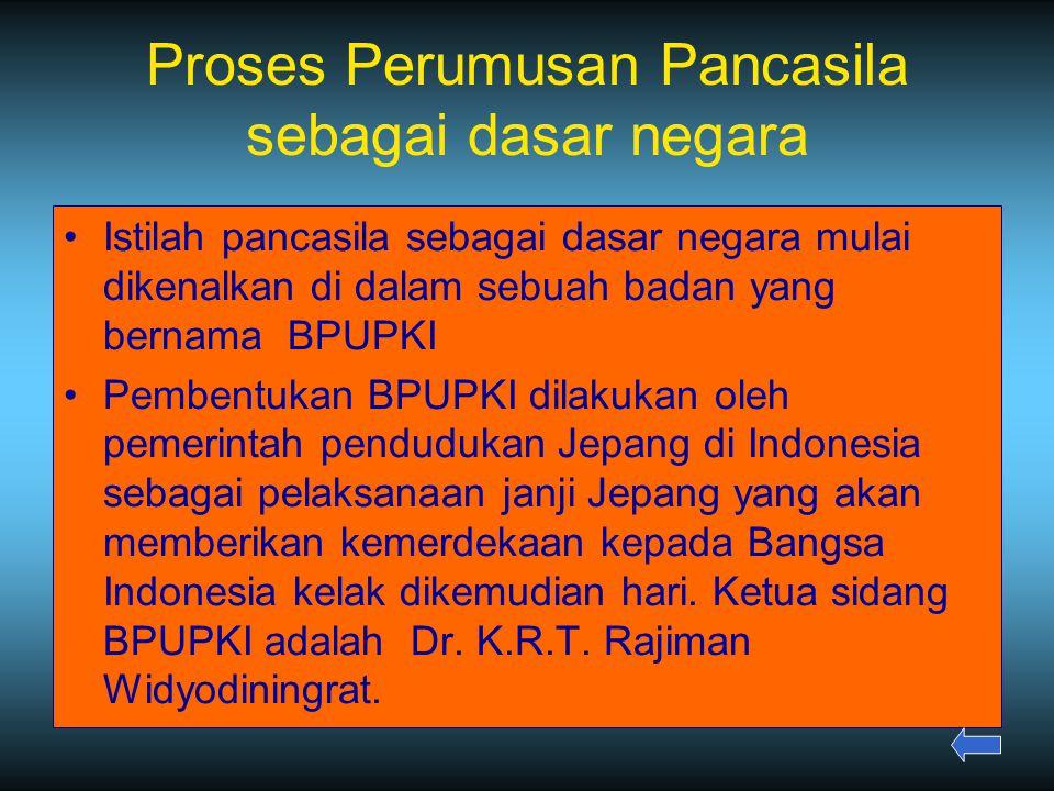 Proses Perumusan Pancasila sebagai dasar negara Istilah pancasila sebagai dasar negara mulai dikenalkan di dalam sebuah badan yang bernama BPUPKI Pembentukan BPUPKI dilakukan oleh pemerintah pendudukan Jepang di Indonesia sebagai pelaksanaan janji Jepang yang akan memberikan kemerdekaan kepada Bangsa Indonesia kelak dikemudian hari.