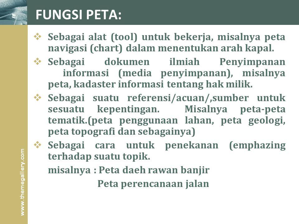 www.themegallery.com FUNGSI PETA:  Sebagai alat (tool) untuk bekerja, misalnya peta navigasi (chart) dalam menentukan arah kapal.  Sebagai dokumen i