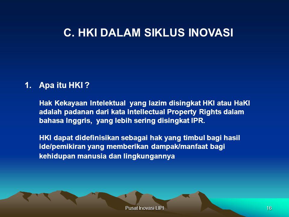 Pusat Inovasi LIPI16 1.Apa itu HKI ? Hak Kekayaan Intelektual yang lazim disingkat HKI atau HaKI adalah padanan dari kata Intellectual Property Rights
