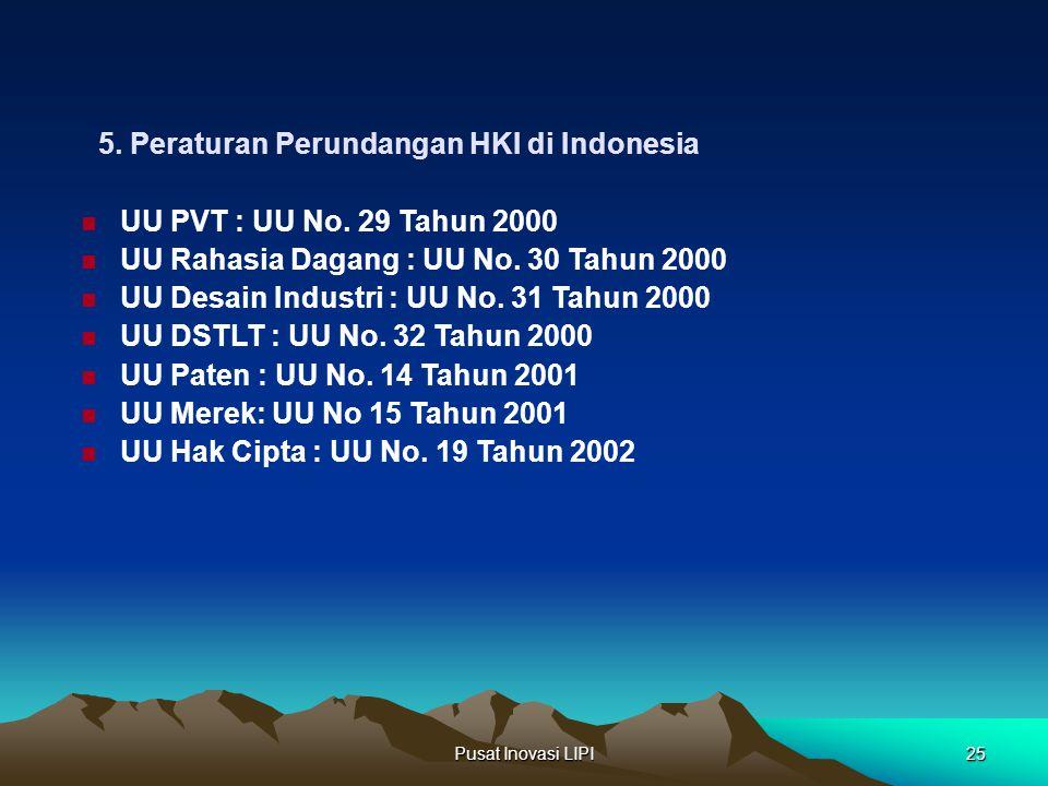 Pusat Inovasi LIPI25 5. Peraturan Perundangan HKI di Indonesia UU PVT : UU No. 29 Tahun 2000 UU Rahasia Dagang : UU No. 30 Tahun 2000 UU Desain Indust