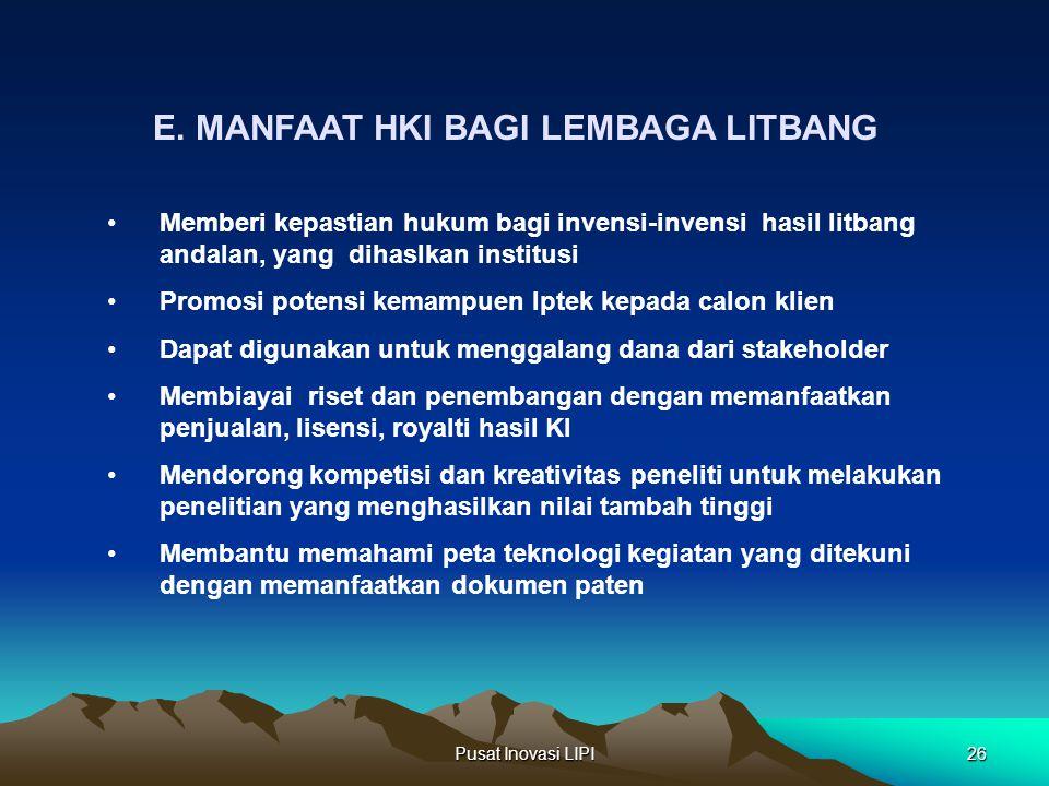 Pusat Inovasi LIPI26 E. MANFAAT HKI BAGI LEMBAGA LITBANG Memberi kepastian hukum bagi invensi-invensi hasil litbang andalan, yang dihaslkan institusi