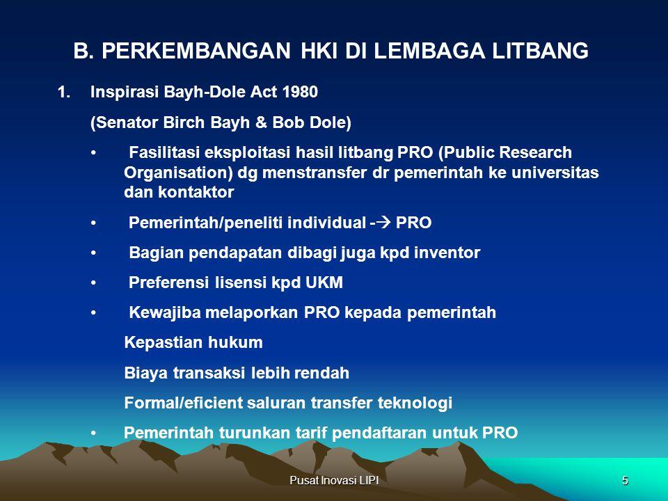 Pusat Inovasi LIPI5 B. PERKEMBANGAN HKI DI LEMBAGA LITBANG 1.Inspirasi Bayh-Dole Act 1980 (Senator Birch Bayh & Bob Dole) Fasilitasi eksploitasi hasil