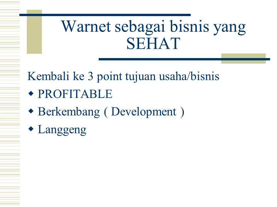 Warnet sebagai bisnis yang SEHAT Kembali ke 3 point tujuan usaha/bisnis  PROFITABLE  Berkembang ( Development )  Langgeng