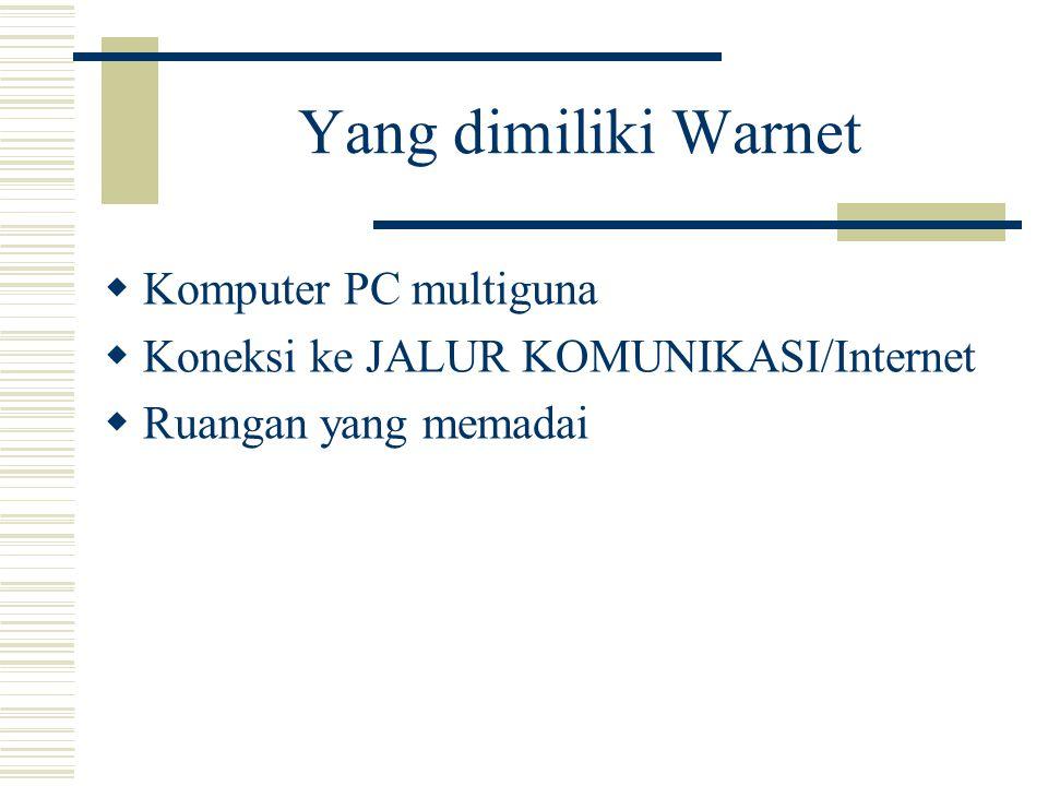 Yang dimiliki Warnet  Komputer PC multiguna  Koneksi ke JALUR KOMUNIKASI/Internet  Ruangan yang memadai
