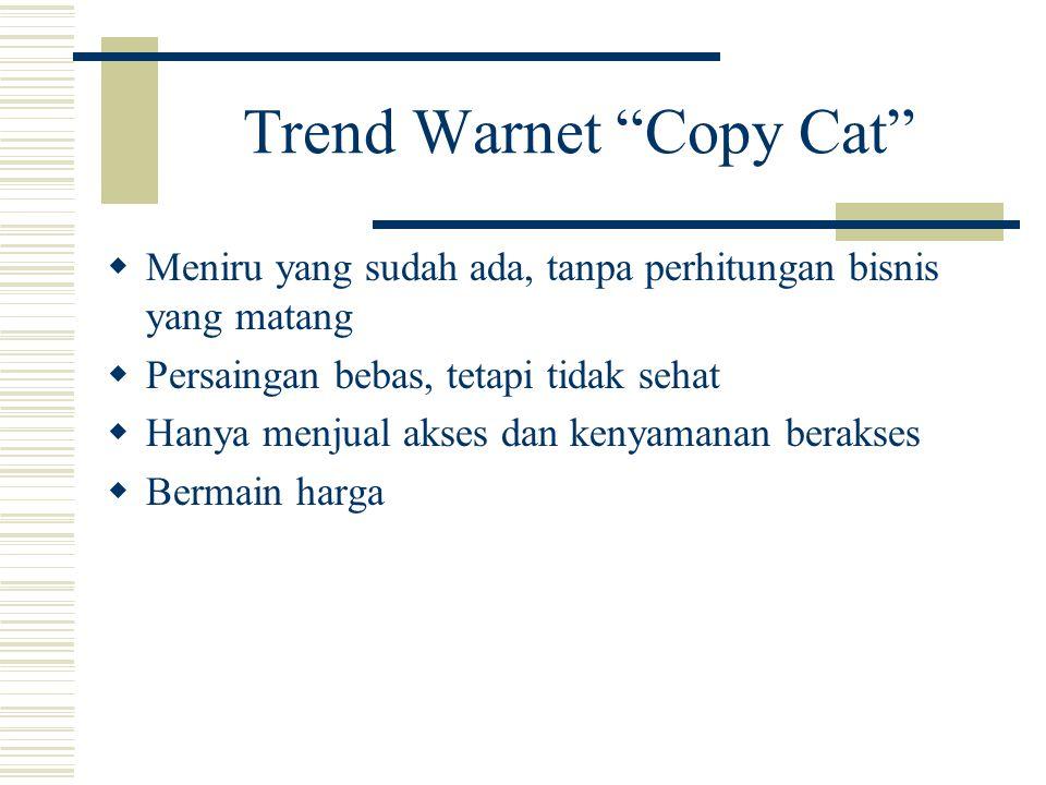 """Trend Warnet """"Copy Cat""""  Meniru yang sudah ada, tanpa perhitungan bisnis yang matang  Persaingan bebas, tetapi tidak sehat  Hanya menjual akses dan"""