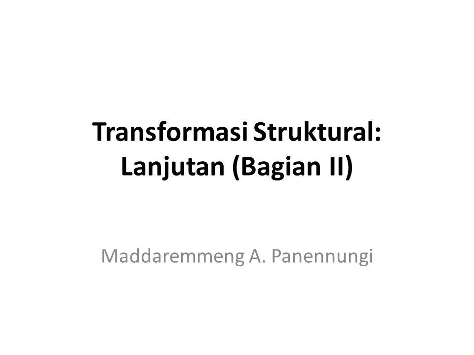 Outline Presentasi Transformasi berikut ini memfokuskan pada beberapa pilihan: Transformasi (Alokasi) Industri Manufaktur Transformasi (Distribusi) Pendapatan Tambahan