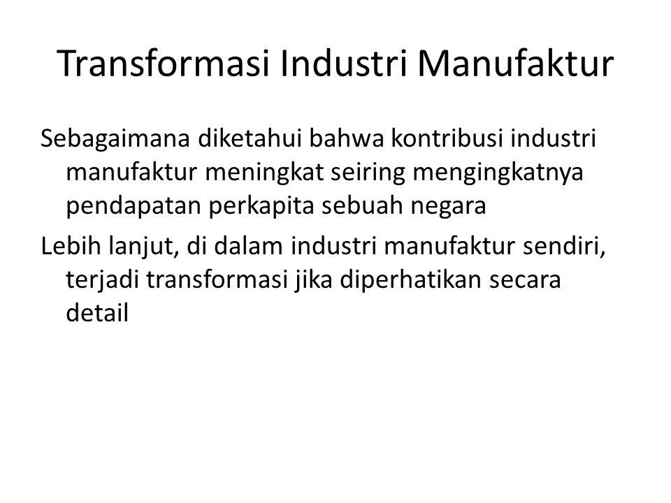 Transformasi Industri Manufaktur Kontribusi industri berat thd industri manufaktur: 56.3% (1985) 47% (1990) 41.8% (1993)