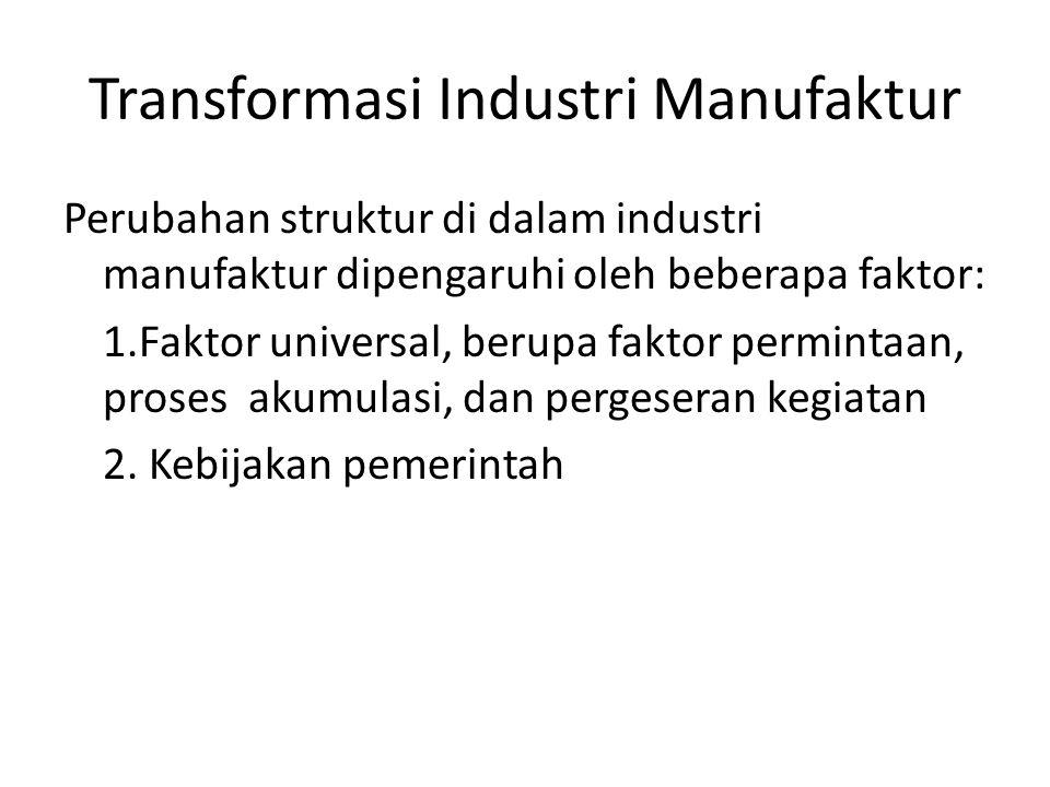 Transformasi Industri Manufaktur Faktor pemintaan: a.Secara umum, kenaikan pendapatan akan meningkatkan permintaan barang manufaktur secara keseluruhan (income elastic) b.
