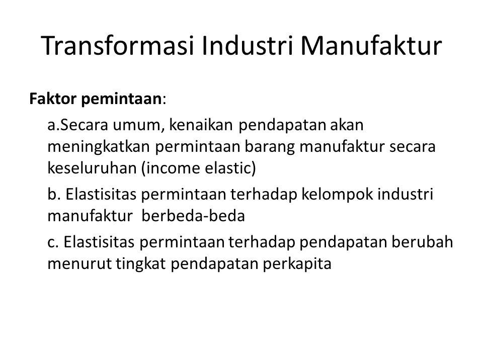 Transformasi Industri Manufaktur Berdasarkan elastisitas permintaan terhadap pendapatan, industri manufaktur dapat dibagai ke dalam 3 kelompok yaitu: industri yang berkembang pada tahap awal (early industry), industri yang berkembang pada tahap menengah (middle industry), dan industri yang berkembang pada tahap akhir (late industry).