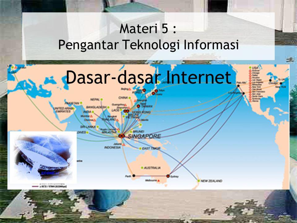 Operasi Internet : Operasi Internet : Alamat di Internet Setiap komputer di internet memiliki IP Address / alamat IP yang secara khusus mengidentifikasi suatu komputer di internet.