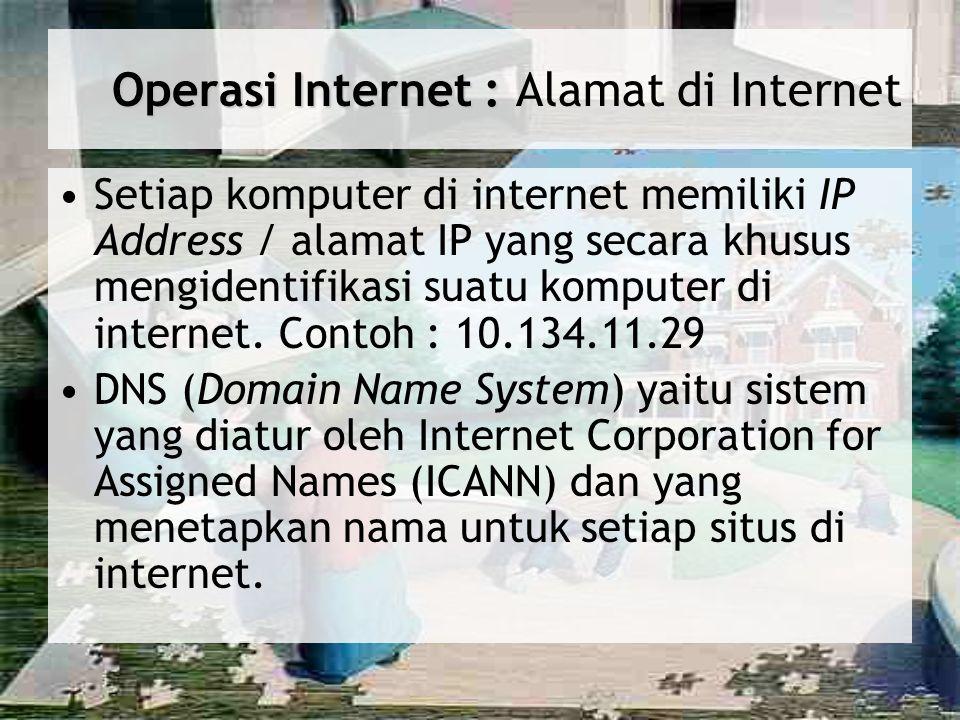 Operasi Internet : Operasi Internet : Alamat di Internet Setiap komputer di internet memiliki IP Address / alamat IP yang secara khusus mengidentifika