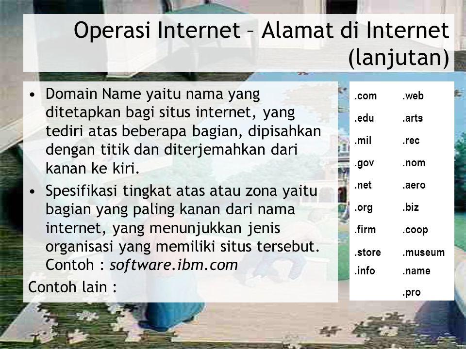 Operasi Internet – Alamat di Internet (lanjutan) Domain Name yaitu nama yang ditetapkan bagi situs internet, yang tediri atas beberapa bagian, dipisah