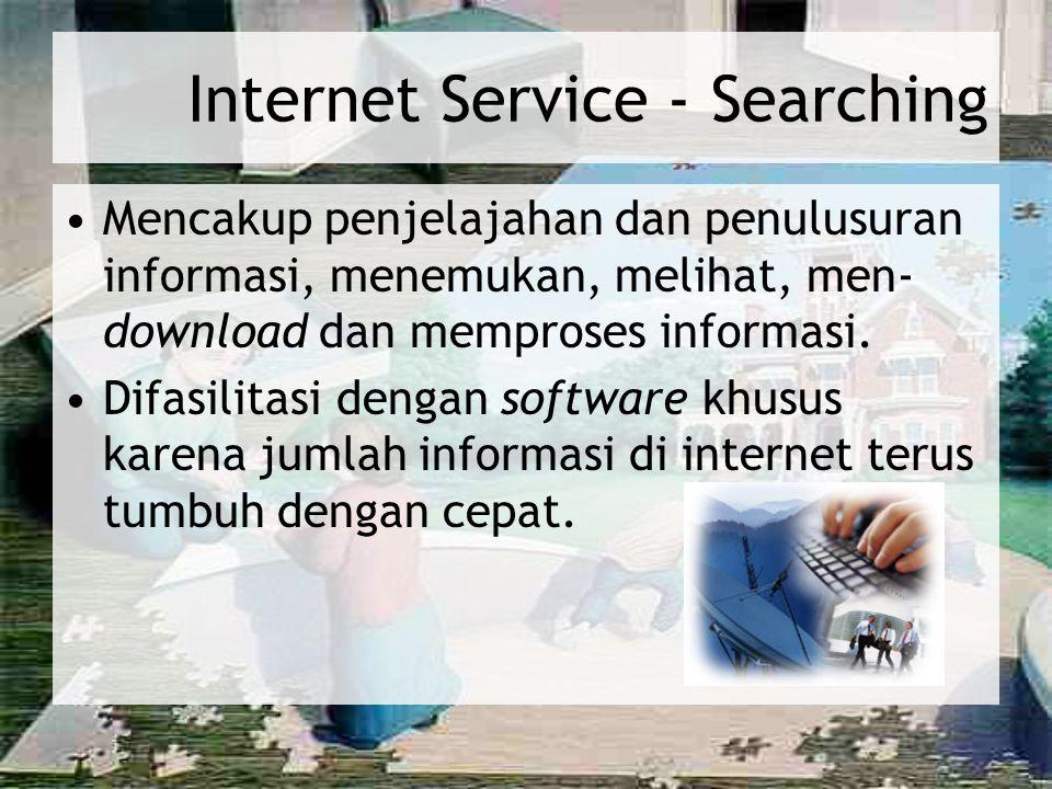 Internet Service - Searching Mencakup penjelajahan dan penulusuran informasi, menemukan, melihat, men- download dan memproses informasi. Difasilitasi