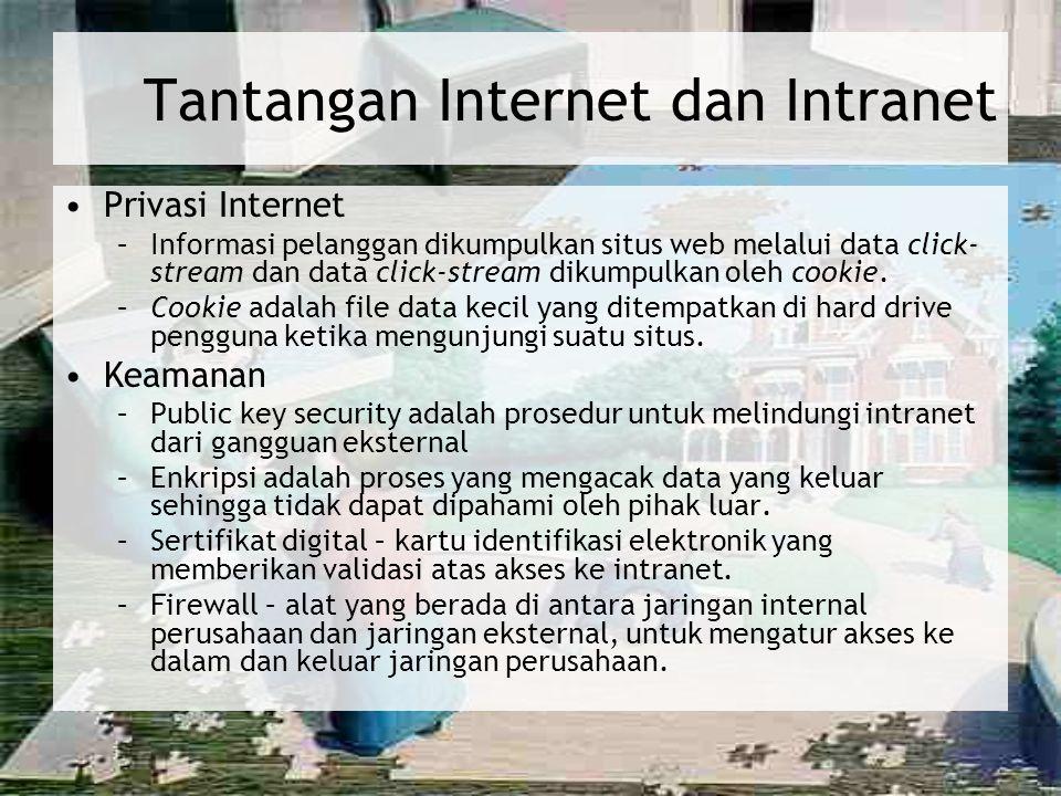 Tantangan Internet dan Intranet Privasi Internet –Informasi pelanggan dikumpulkan situs web melalui data click- stream dan data click-stream dikumpulk