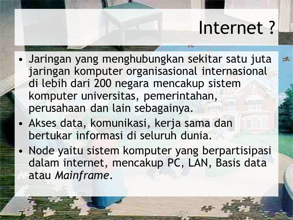 Operasi Internet – Alamat di Internet (lanjutan) Domain Name yaitu nama yang ditetapkan bagi situs internet, yang tediri atas beberapa bagian, dipisahkan dengan titik dan diterjemahkan dari kanan ke kiri.