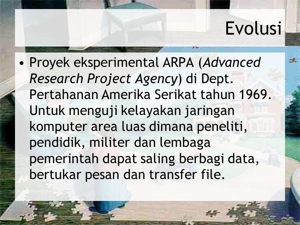 Evolusi Proyek eksperimental ARPA (Advanced Research Project Agency) di Dept. Pertahanan Amerika Serikat tahun 1969. Untuk menguji kelayakan jaringan