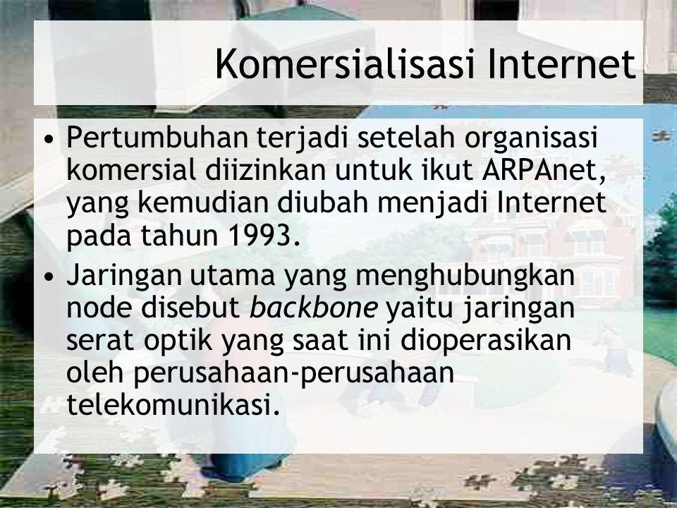 Komersialisasi Internet Pertumbuhan terjadi setelah organisasi komersial diizinkan untuk ikut ARPAnet, yang kemudian diubah menjadi Internet pada tahu