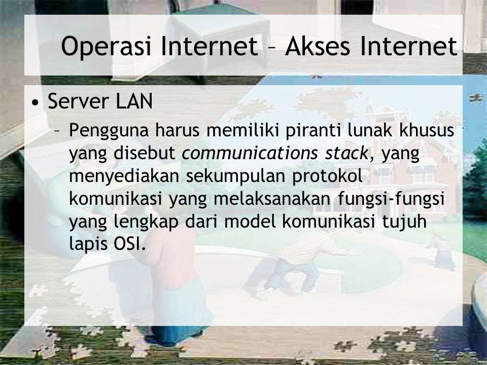 Operasi Internet – Akses Internet (lanjutan) Serial line Internet Protocol/Point-to- Point Protocol (SLIP/PPP) –Modem –Piranti lunak khusus –Keuntungan bagi karyawan yang bekerja di rumah yang memerlukan akses ke Internet atau intranet perusahaan