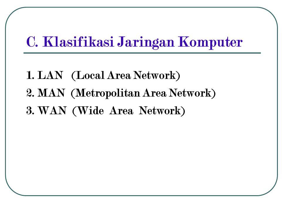 C. Klasifikasi Jaringan Komputer 1. LAN (Local Area Network) 2. MAN (Metropolitan Area Network) 3. WAN (Wide Area Network)