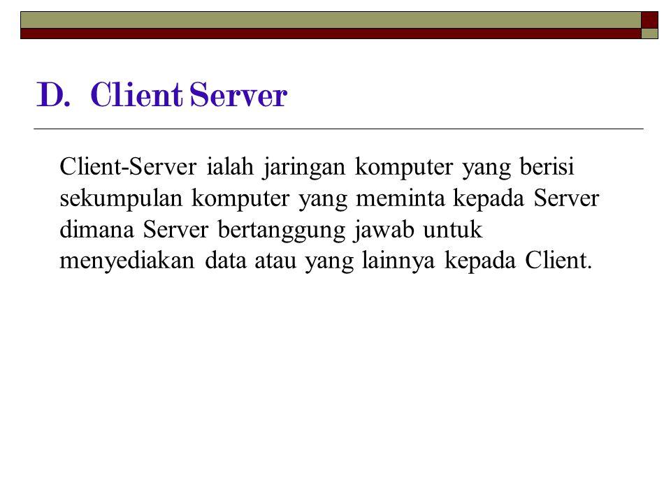 D. Client Server Client-Server ialah jaringan komputer yang berisi sekumpulan komputer yang meminta kepada Server dimana Server bertanggung jawab untu
