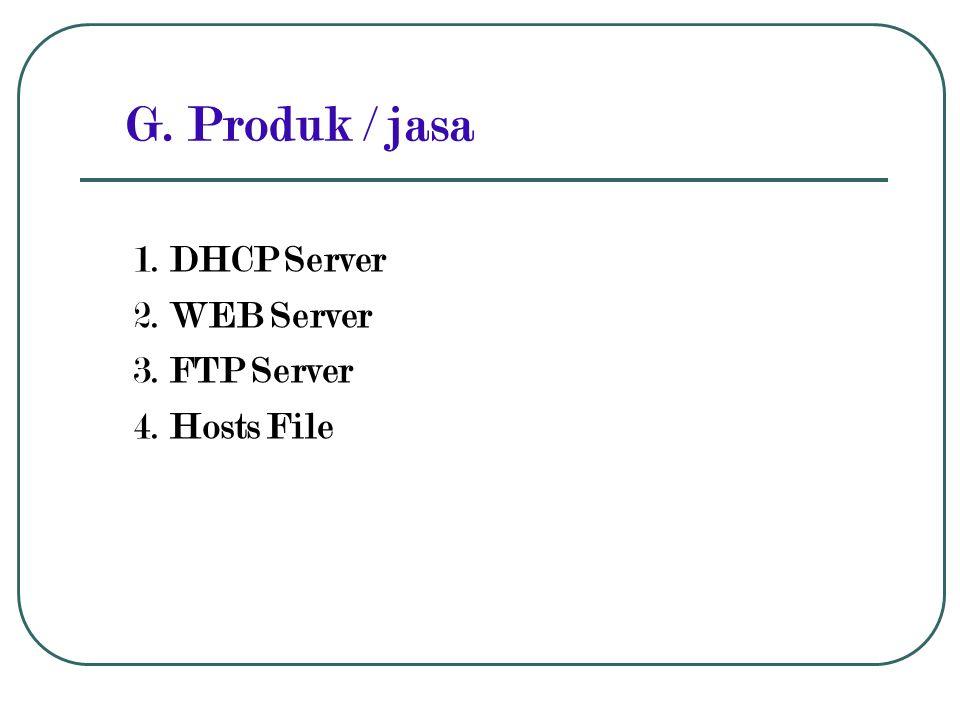 G. Produk / jasa 1. DHCP Server 2. WEB Server 3. FTP Server 4. Hosts File