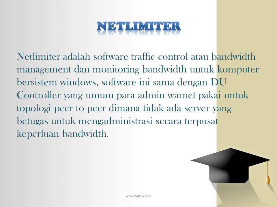 Netlimiter adalah software traffic control atau bandwidth management dan monitoring bandwidth untuk komputer bersistem windows, software ini sama deng