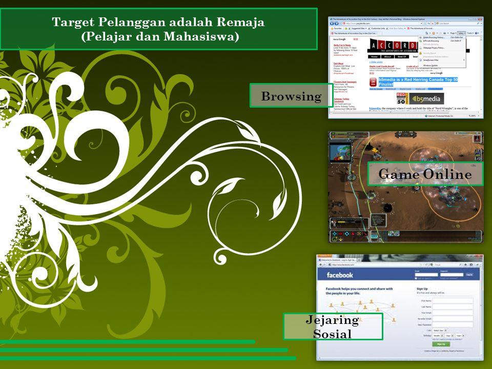 Target Pelanggan adalah Remaja (Pelajar dan Mahasiswa) Browsing Game Online Jejaring Sosial
