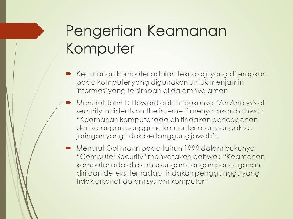 Tujuan Keamanan Komputer Menurut Garfinkel dan Spafford, ahli dalam computer security, komputer dikatakan aman jika bisa diandalkan dan perangkat lunaknya bekerja sesuai dengan yang diharapkan.