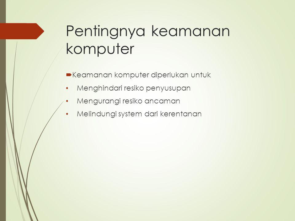Pentingnya keamanan komputer  Keamanan komputer diperlukan untuk Menghindari resiko penyusupan Mengurangi resiko ancaman Melindungi system dari keren