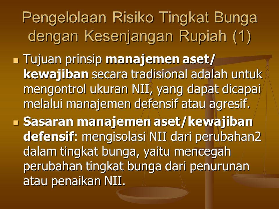 Pengelolaan Risiko Tingkat Bunga dengan Kesenjangan Rupiah (1) Tujuan prinsip manajemen aset/ kewajiban secara tradisional adalah untuk mengontrol uku