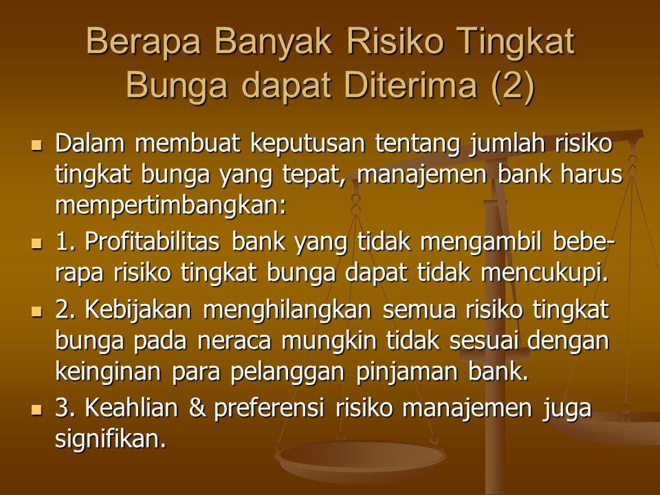 Berapa Banyak Risiko Tingkat Bunga dapat Diterima (2) Dalam membuat keputusan tentang jumlah risiko tingkat bunga yang tepat, manajemen bank harus mem