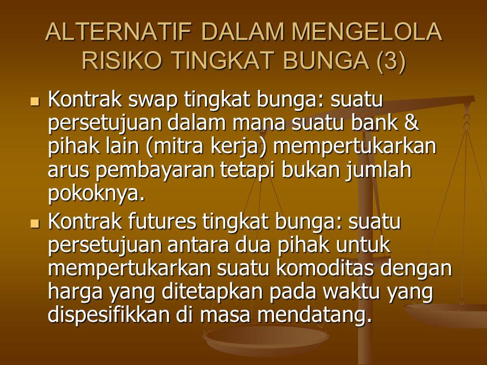 ALTERNATIF DALAM MENGELOLA RISIKO TINGKAT BUNGA (3) Kontrak swap tingkat bunga: suatu persetujuan dalam mana suatu bank & pihak lain (mitra kerja) mem