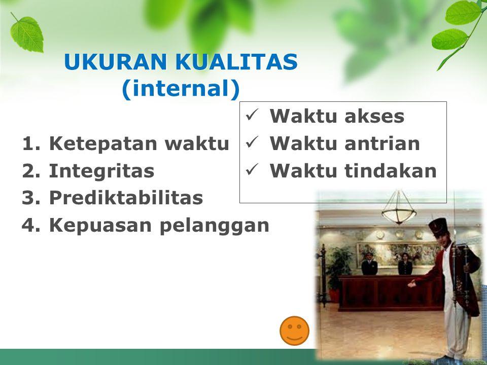 1.Ketepatan waktu 2.Integritas 3.Prediktabilitas 4.Kepuasan pelanggan UKURAN KUALITAS (internal) Waktu akses Waktu antrian Waktu tindakan