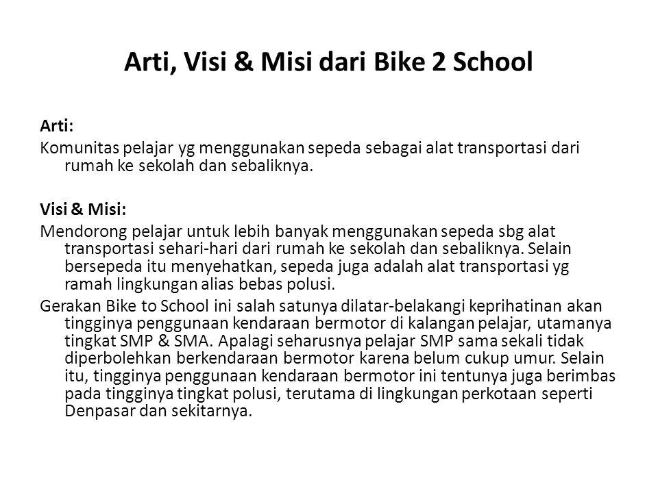Arti, Visi & Misi dari Bike 2 School Arti: Komunitas pelajar yg menggunakan sepeda sebagai alat transportasi dari rumah ke sekolah dan sebaliknya. Vis