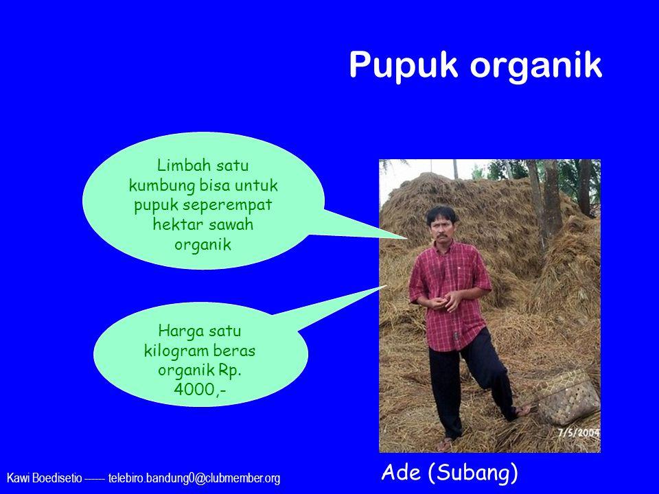 Kawi Boedisetio ------ telebiro.bandung0@clubmember.org Pupuk organik Limbah satu kumbung bisa untuk pupuk seperempat hektar sawah organik Harga satu