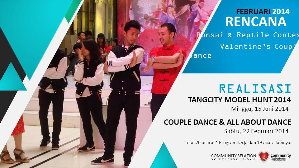 REALISASI TANGCITY MODEL HUNT 2014 Total 20 acara. 1 Program kerja dan 19 acara lainnya. RENCANA Bonsai & Reptile Contest Valentine's Couple Dance Min