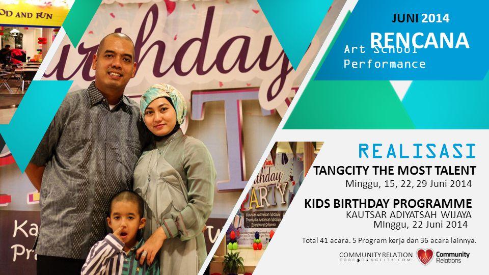 REALISASI TANGCITY THE MOST TALENT Total 41 acara. 5 Program kerja dan 36 acara lainnya. Minggu, 15, 22, 29 Juni 2014 COMMUNITY RELATION CORE@TANGCITY