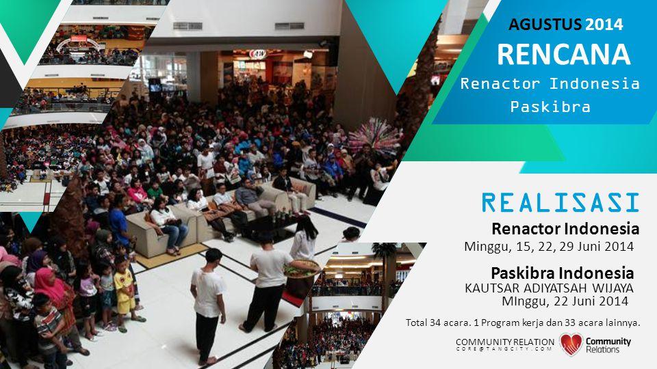 REALISASI Renactor Indonesia Total 34 acara. 1 Program kerja dan 33 acara lainnya. Minggu, 15, 22, 29 Juni 2014 COMMUNITY RELATION CORE@TANGCITY.COM R
