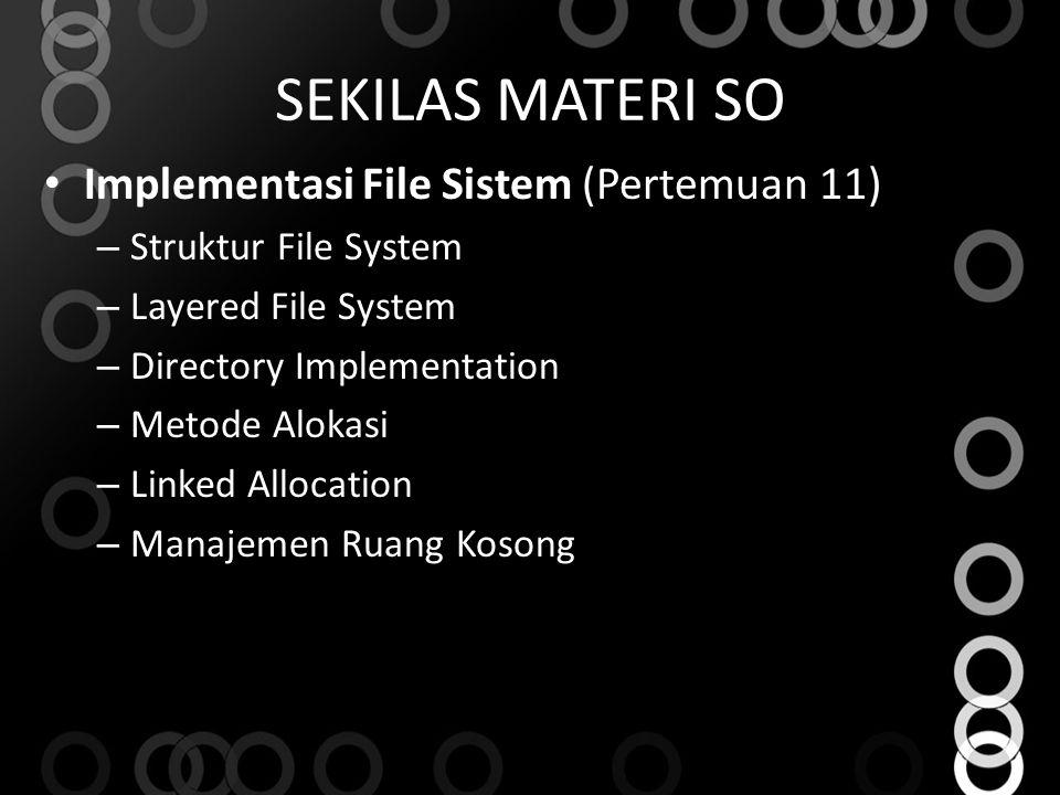 SEKILAS MATERI SO Implementasi File Sistem (Pertemuan 11) – Struktur File System – Layered File System – Directory Implementation – Metode Alokasi – L