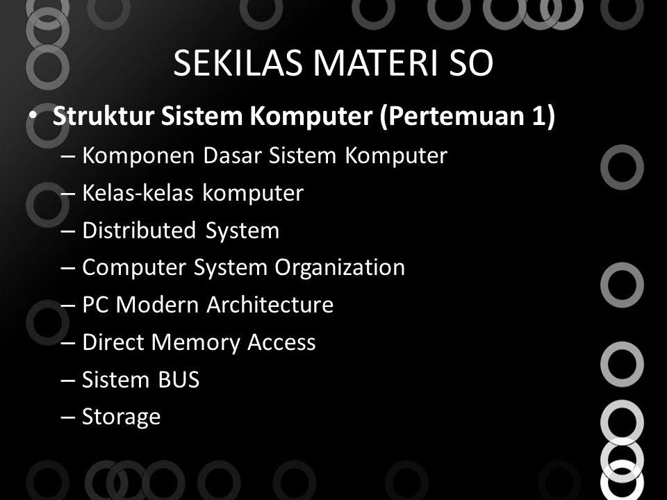 SEKILAS MATERI SO Struktur Sistem Komputer (Pertemuan 1) – Komponen Dasar Sistem Komputer – Kelas‐kelas komputer – Distributed System – Computer Syste