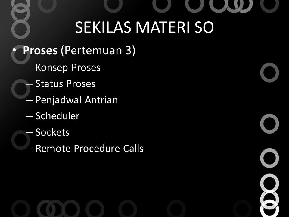 SEKILAS MATERI SO Proses (Pertemuan 3) – Konsep Proses – Status Proses – Penjadwal Antrian – Scheduler – Sockets – Remote Procedure Calls